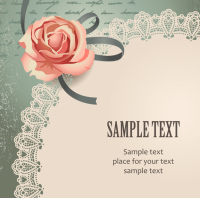 Vintage Rose Card text template vector material -1