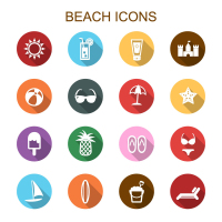 Round of 16 beach holiday icon vector material