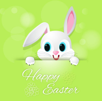 Cute Easter bunny greeting card vector material