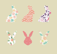 6 pattern vector rabbit with Avatar