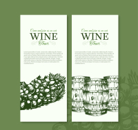 2 hand-painted banner vector wine